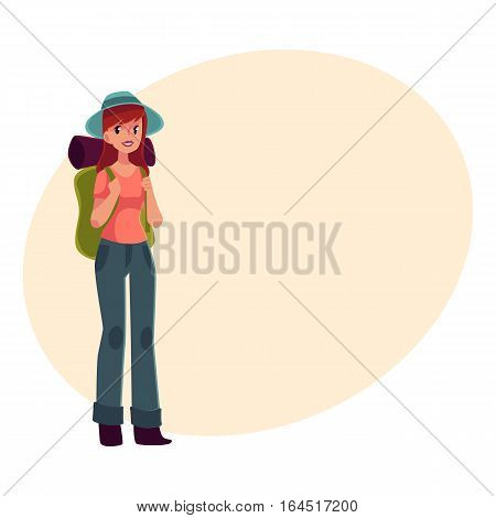 Young pretty girl travelling, hitch hiking with backpack, cartoon on background with place for text. Woman, girl, backpacker, hitchhiker with a backpack and sleeping bag, arriving or departing