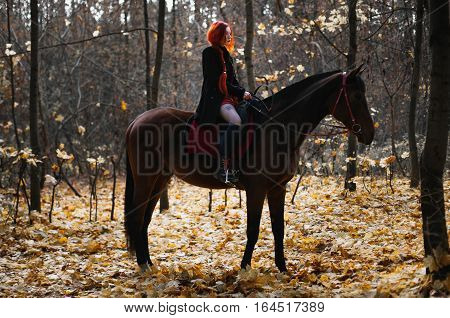 brave red-haired girl in a black coat and a red dress with long hair gathered in a braid a woman riding a horse in autumn forest beautiful strong stallion horse rider yellow maple leaves on the ground