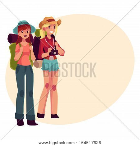 Two pretty girls travelling, hitchhiking with backpacks and camera, cartoon illustration on background with place for text. Female backpackers, hitchhikers, friends travelling with backpacks