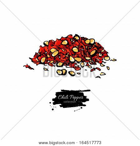 Chili Pepper hand drawn vector illustration of crushed pile. Vegetable artistic style object. Isolated hot spicy mexican flavor. Detailed vegetarian food drawing. Eco Farm market product. Paprika icon