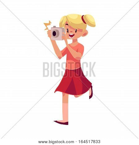 Little blond girl with ponytails running with camera and making photos, cartoon illustration isolated on white background. Full length portrait of little, teenage girl shooting with photo camera