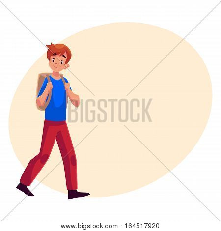 School boy, teenager walking, going somewhere with backpack, cartoon illustration isolated on background with place for text. Schoolboy, boy, teenager, lad going to school with a backpack