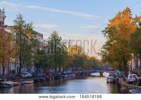 Western church on Prinsengracht canal in Amsterdam The Netherlands
