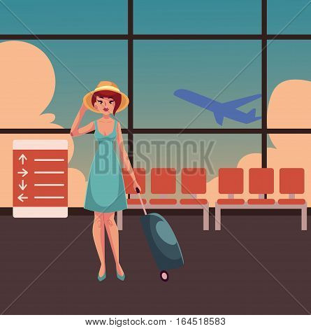 Young pretty woman in blue dress with suitcase in airport terminal interior with a view of airplane. Full length portrait of beautiful girl, woman traveler with luggage, suitcase