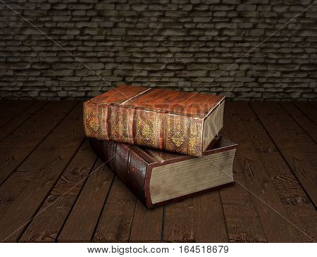 Tow old books isolated on wooden table. Vintage antiquarian books. Back to school education concept. 3D illustration