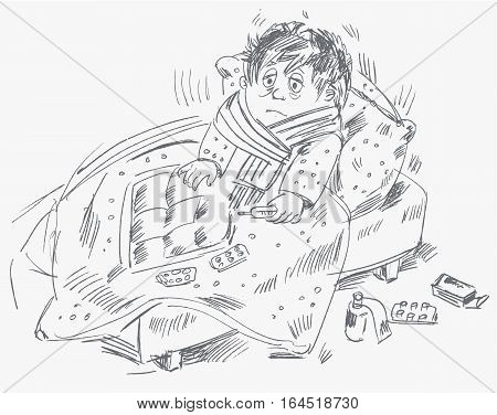 The boy became ill and was lying in bed, vector illustration