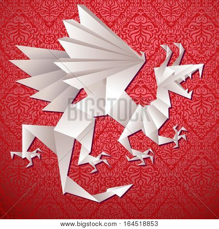 paper dragon origami, year dragon, vector illustration