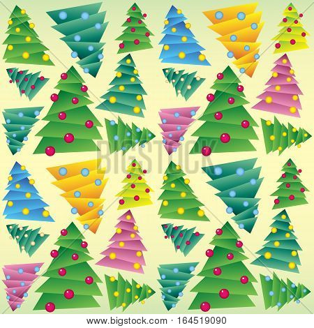 Richly decorated Christmas tree, wrapping, seamless tracery. New Year wrapper. Vector illustration