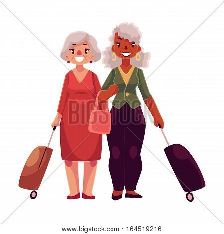 Two old, senior, elder women with suitcases in airport, cartoon illustration isolated on white background. Full length portrait of old ladies, senior women travelling together with luggage, suitcase poster