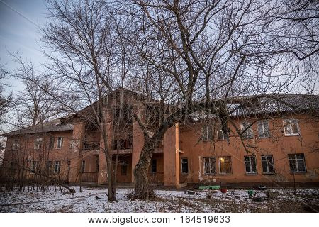 Old Soviet two storey house built by German prisoners after World War II in the late 40's and early 50's. Voronezh, Russia