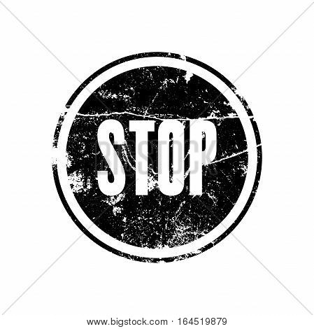 Black rubber stamp with the word stop in grunge style. Road signs vector illustration.