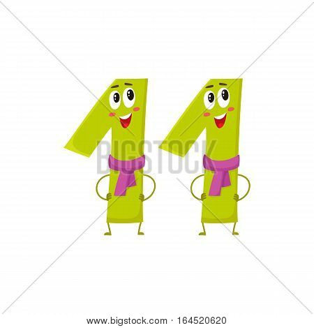 Cute and funny colorful 11 number characters, cartoon vector illustration isolated on white background. eleven smiling characters, birthday greetings, anniversary