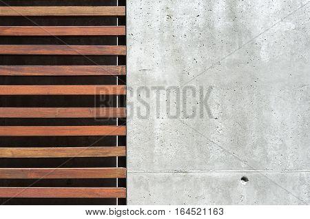 Concrete detail, wood detail modern facade, symbol modern building, architectural concrete facade detail