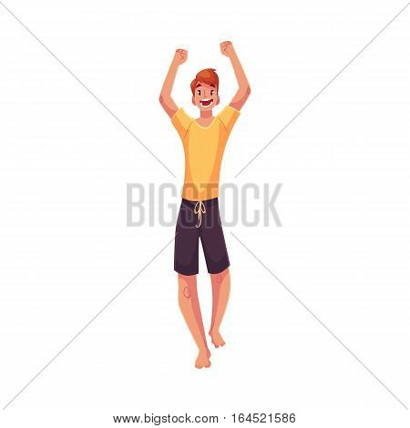 Young barefooted man dancing, cartoon style vector illustration isolated on white background. Young and red man, teenager, boy dancing at a party in skirt and t-shirt