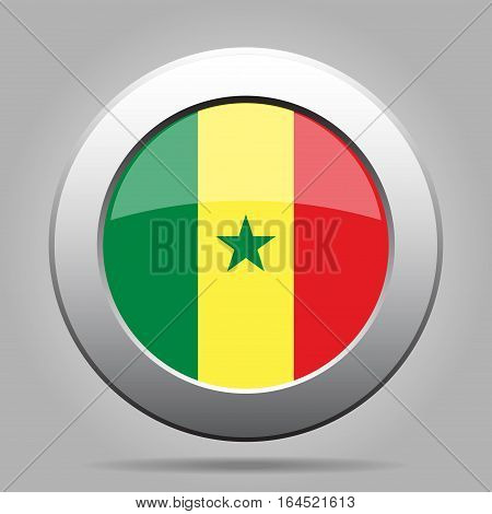 National flag of Senegal. Shiny metal gray round button with shadow.