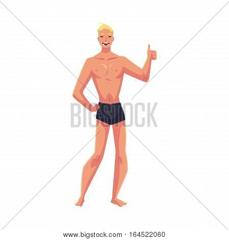 Young fair haired athletic man in swimming shorts giving thumb up, cartoon style vector illustration isolated on white background. Young and handsome blond haired man standing in shorts