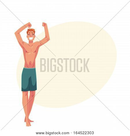 Young red haired athletic man in swimming shorts dancing, cartoon style vector illustration isolated on yellow background with place for text. Young and handsome red haired man dancing