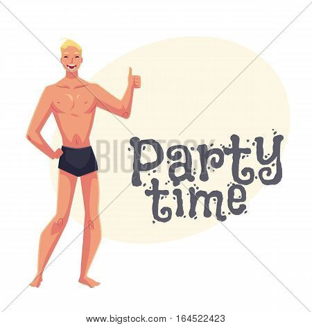 Young fair haired athletic man in swimming shorts giving thumb up, cartoon style invitation, greeting card design. Party invitation, advertisement, Young and handsome blond haired man standing