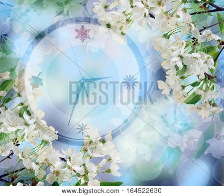 Spring dream of nature. Clock in cherry blossoms. Concept. Spring time. Blooming spring background. The awakening after the winter cold. Beautiful colors of a new life. Morning. Dawn. End of winter sleep.