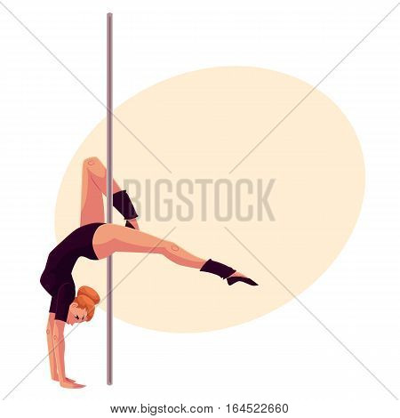 Young pole dance woman in black leotard doing hand stand, cartoon style vector illustration on yellow background, place for text. Young, slim and beautiful pole dancer standing on hands