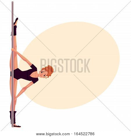Young woman in black leotard doing leg split at the pole, cartoon style vector illustration on yellow background, place for text. Young, slim and beautiful pole dancer doing side split at the pole
