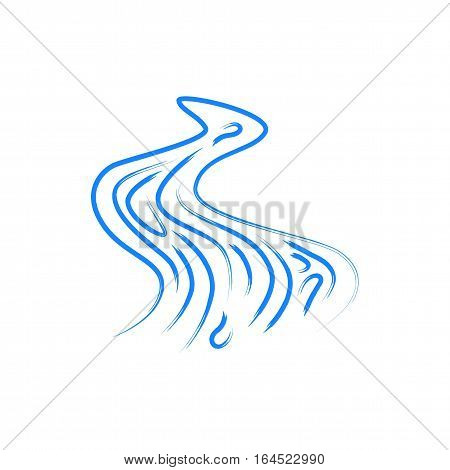 Vector abstract symbol of the river. Drawing with watercolors. jpg, eps