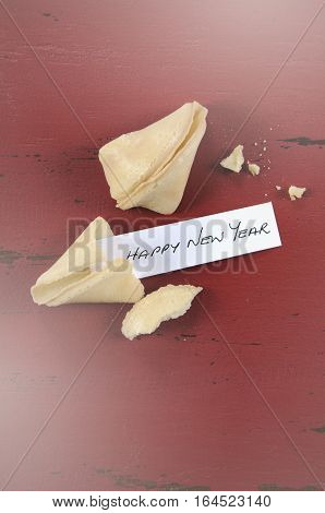 New Year Message Greeting Inside Chinese Fortune Cookie