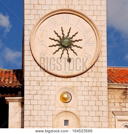 Famous clock tower of Dubrovnik, Croatia. The Clock Tower was built in the heart of the old city Dubrovnic by the main street of the Stradun in the 15th Century. square toned image