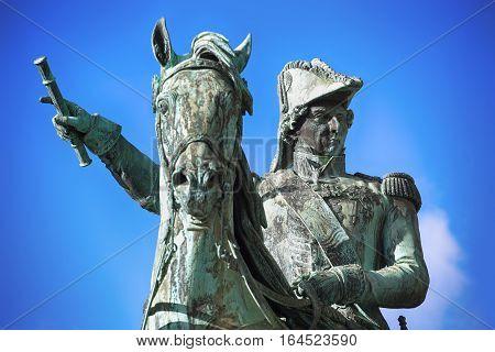 Statue of Charles XIV John former king of Sweden in Stockholm Sweden