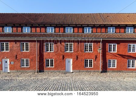 Copenhagen, Denmark - January 05, 2017: Typical red house in the histroical fortress Kastellet