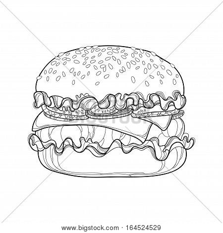 Vector outline cheeseburger with cheese, beef, cucumber, lettuce, onion and sesame seed isolated on white background. Fast food elements in contour style for coloring book and design food menu.
