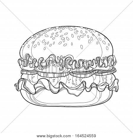 Vector illustration of outline hamburger with beef, tomatoes, lettuce, onion and sesame seed isolated on white background. Fast food elements in contour style for coloring book and design food menu.