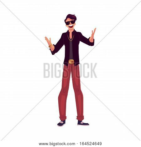 Young stylish clubber man wearing sunglasses and golden chain at a party, drinking cocktails, having fun, cartoon vector illustration isolated on white background. Man in sunglasses, party animal