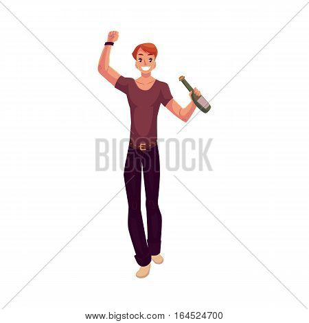 Young man dancing with beer bottle at party, in night club, cartoon vector illustration isolated on white background. Young handsome man dancing at a nightclub, drinking beer, having fun