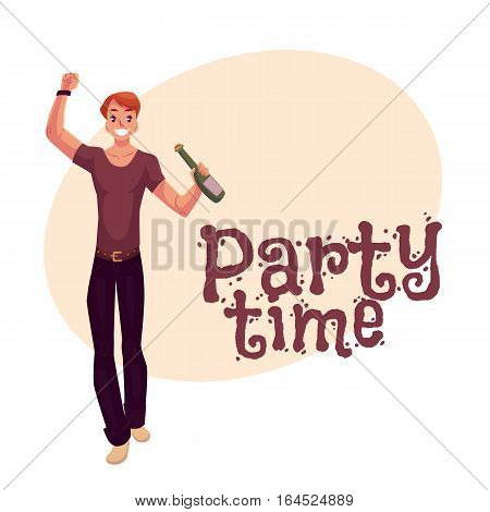 Young man dancing with beer bottle at party, in night club, cartoon style invitation, greeting card design. Party invitation, advertisement, Young handsome man dancing at a nightclub, drinking