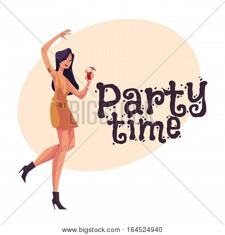 Young clubber girl in short dress dancing with a cocktail in hand, cartoon style invitation, greeting card design. Party invitation, advertisement, Young beautiful woman drinking cocktail and having fun