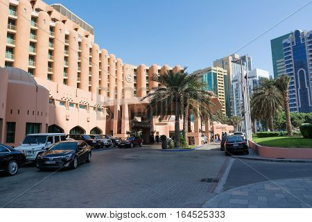 ABU DHABI UNITED ARAB EMIRATES - DECEMBER 4 2016: Sheraton Abu Dhabi Hotel & Resort is a 5-star resort hotel in Abu Dhabi situated on the Abu Dhabi Corniche overlooking the Arabian Gulf.