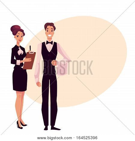 Young restaurant, cafe manager and a waiter, cartoon vector illustration on background with place for text. Full length portrait of restaurant manager, hostess in little black dress and waiter in uniform