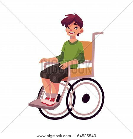 Portrait of happy school kid sitting in wheelchair, cartoon vector illustration isolated on white background. Disabled teenaged boy sitting in wheelchair, living with disability concept