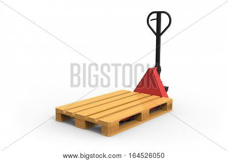 Hand pallet truck on white background 3D rendering
