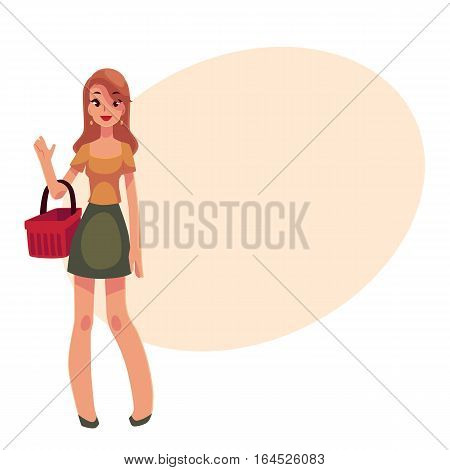 Young beautiful woman with a shopping basket, cartoon vector illustration on background with place for text. Full length portrait of young pretty girl, woman holding a red shopping basket