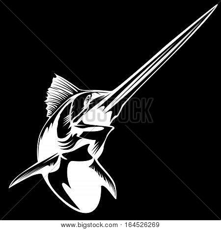 Blue marlin fishing logo illustration isolated on white