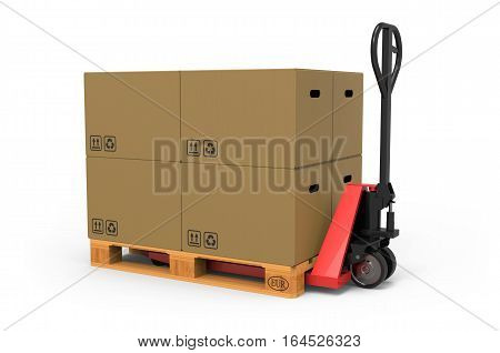 Hand pallet truck with Cardboard Boxes on white background 3D rendering