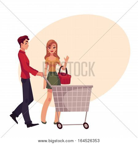 Man pushing shopping cart and woman holding basket, cartoon vector illustration on background with place for text. Full length portrait of young man and woman doing shopping, consumerism concept