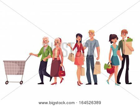 Couples of young, middle aged and old, senior people shopping together, cartoon vector illustration isolated on white background. Young and old couples holding shopping bags, walking in the mall