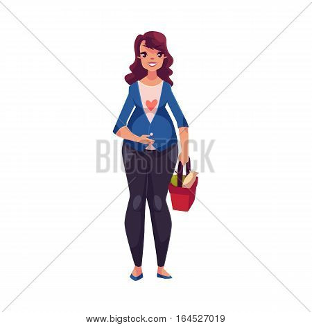 Full length portrait of young pregnant woman with shopping basket, cartoon vector illustration isolated on white background. Beautiful pregnant woman holding shopping basket with food, front view