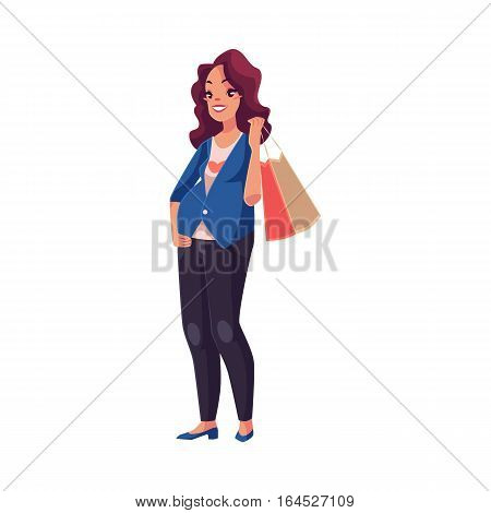 Half turned young pregnant woman holding shopping bag on her shoulder, cartoon vector illustration isolated on white background. Beautiful pregnant woman with a shopping bag, fashion store customer