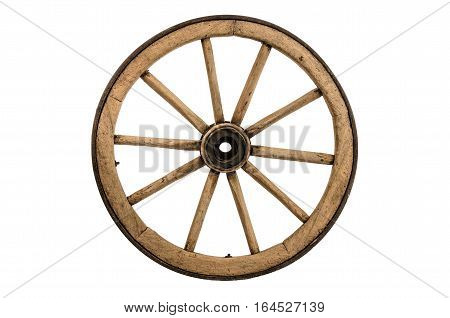 Old wooden cartwheel isolated on white background