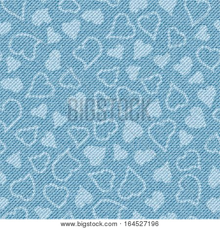 Light blue jean texture with hearts. Denim background. Pattern can be used for wallpaper, pattern fills, web page background, surface textures