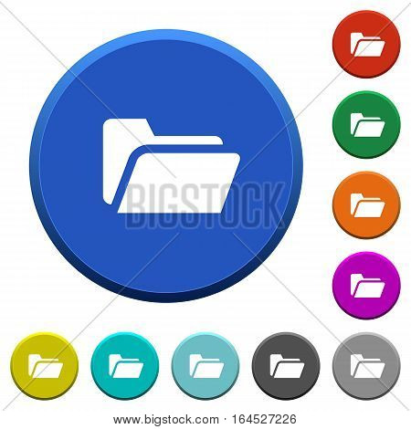 Folder open round color beveled buttons with smooth surfaces and flat white icons